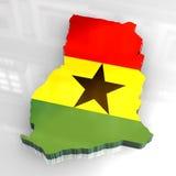 chorągwiana 3d mapa Ghana royalty ilustracja