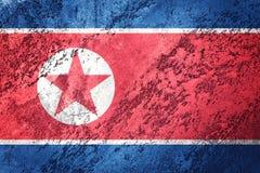 chorągwiana grunge Korea północ Północnego Korea flaga z grunge teksturą Fotografia Royalty Free