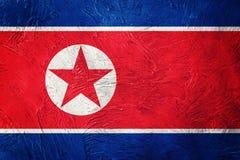 chorągwiana grunge Korea północ Północnego Korea flaga z grunge teksturą Zdjęcie Stock