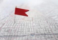 Chorągwiana mapy czerwień Zdjęcie Royalty Free
