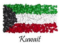 Chorągwiana miłość Kuwejt Chorągwiany Kierowy Glansowany Z miłością od Kuwejt Robić w Kuwejt Kuwejt obywatela dzień niepodległośc ilustracji
