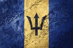 chorągwiany Barbados grunge Barbados flaga z grunge teksturą Zdjęcie Royalty Free