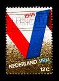 """Chorągwiany faborek tworzy listowy """"V"""", wyzwolenia seria około 1970, fotografia royalty free"""