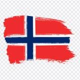 Chorągwiany Norwegia, szczotkarski uderzenia tło Flaga Norwegia na przejrzystym tle Akcyjny wektor Flaga dla twój strona internet ilustracji