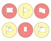 Chorągwiany Wałkowy Wektorowy Płaski ikona set Obrazy Royalty Free