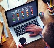Chorągwianych krajów symbolu Cudzoziemski Międzynarodowy pojęcie zdjęcia stock