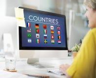 Chorągwianych krajów symbolu Cudzoziemski Międzynarodowy pojęcie zdjęcie royalty free