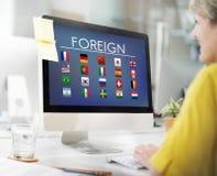 Chorągwianych krajów symbolu Cudzoziemski Międzynarodowy pojęcie obrazy stock