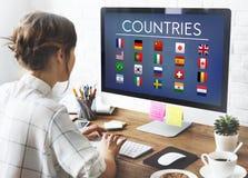 Chorągwianych krajów symbolu Cudzoziemski Międzynarodowy pojęcie obraz stock