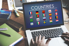 Chorągwianych krajów symbolu Cudzoziemski Międzynarodowy pojęcie fotografia stock