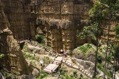 Chor小山峡谷的游人在泰国国家公园 免版税库存照片
