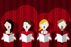 Chor, der gegen einen Hauptvorhang singt Stockfoto