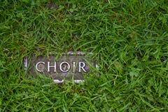 Chor - ein Kennzeichen, das anzeigt, wo die Ruinen des Chores Stand sind lizenzfreie stockfotos