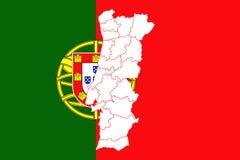 chorągwiana mapa Portugal Obraz Royalty Free