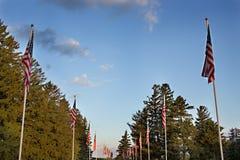 Chorągwiane linie przeciw niebieskiemu niebu Zdjęcia Stock