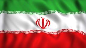 Chorągwiany Iran falowanie w wiatrowym jedwabiu royalty ilustracja