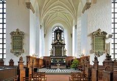 Chor und Altar der Kirche der Heiliger Dreifaltigkeit in Kristianstad, Schweden Stockbilder