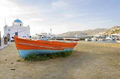 Chora口岸,米科诺斯岛,希腊 免版税图库摄影