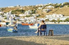 Chora,米科诺斯岛,希腊 库存图片