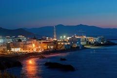 Chora,纳克索斯,希腊夜场面  免版税图库摄影