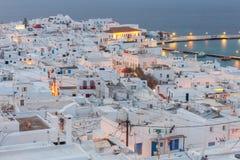 Chora 米科诺斯岛 空中城市视图 库存图片