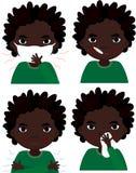 Chora arrican chłopiec z maską, termometrem i chusteczką grypy, Fotografia Stock