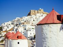 Chora of Astypapaia island ,Greece at daytime through a windmill.  Royalty Free Stock Images