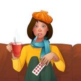 Chora brunetki dziewczyna zimno Lekarstwa, termometr, filiżanka herbata Wektor odosobniona ilustracja tła postać z kreskówki zuch ilustracji
