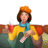 Chora brunetki dziewczyna zimno Lekarstwa, termometr, filiżanka herbata Wektor odosobniona ilustracja tła postać z kreskówki zuch royalty ilustracja