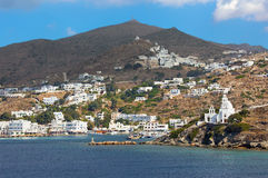 Chora - church Agia Irini on the right side and Chora town on the Ios island in the Aegean Sea (Greece). Stock Image