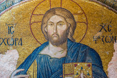 Chora Church. An ancient crumbling mosaic of Jesus at Chora Church. Photo taken August 1, 2014 in Istanbul, Turkey Royalty Free Stock Images