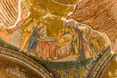 Chora Church. An ancient crumbling mosaic at Chora Church portrays Jesus healing a lame man Royalty Free Stock Photography