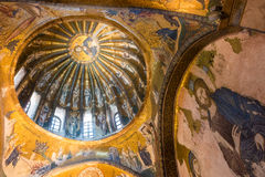 Chora Church. An ancient mosaic of Jesus Christ and his disciples adorns one of the domes at Chora Church Stock Photography