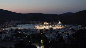chora dodecanese希腊遗产海岛修道院正统patmos选址科教文组织世界 默示录洞 库存照片