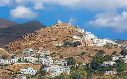 Chora - The hill with the chapels in Chora town on the Ios island in the Aegean Sea Royalty Free Stock Images