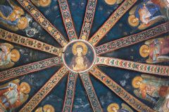 CHORA, Kariye Church or Museum, ISTANBUL, TURKEY. CHORA, Kariye Church or Museum, interior of the dome is covered with fine mosaics and frescoes, ISTANBUL royalty free stock photos