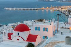 Chora Mykonos воздушный взгляд города стоковое фото