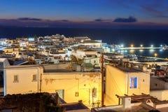 Chora Mykonos воздушный взгляд города стоковое изображение