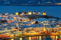 Chora. Mykonos. Aerial view of the city. stock photos