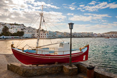 Chora Mykonos at bay against of blue sky Royalty Free Stock Photo