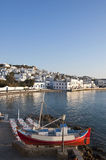 Chora Mykonos at bay of blue sky and small Tavern Stock Photo