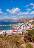Chora Mykonos with port on the background of the sea, islands an Stock Images