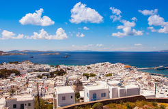 Chora Mykonos with windmills on the background of the sea, islan Stock Photo