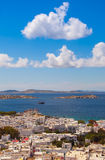 Chora Mykonos with windmills on the background of the sea, islan Royalty Free Stock Photography