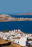 Chora of Mykonos with windmills in Greece Stock Photos