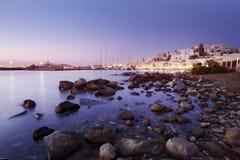 Chora, Naxos bij Zonsondergang Royalty-vrije Stock Foto's