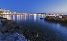 Chora by night, Mykonos, Greece Stock Images