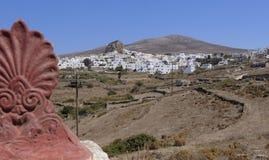 Chora op Amorgos-eiland royalty-vrije stock foto