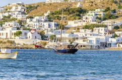Chora port, Mykonos, Greece Stock Photos
