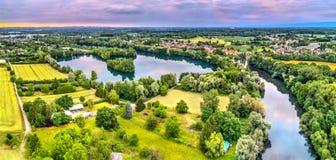 Chora rzeka i sztuczny jezioro w północy Strasburg - Uroczysty Est, Francja Zdjęcie Stock